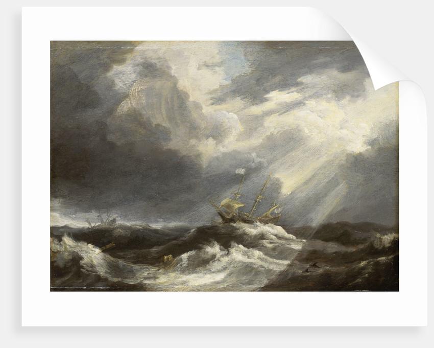 Sunlight on a stormy sea by Bonaventura Peeters the Elder