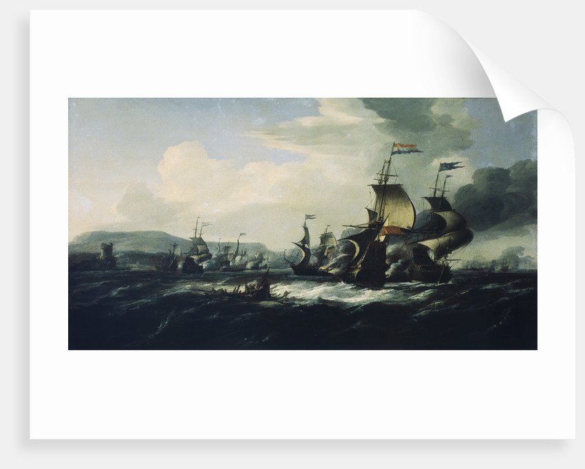 A battle between the Dutch and Barbary pirates near the coast by Hendrik van Minderhout