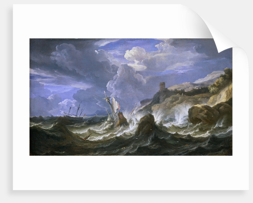 A ship wrecked in a storm off a rocky coast by Pieter Mulier