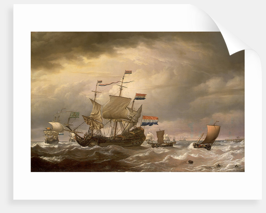A Dutch flagship brought to in a fresh breeze by Willem Van de Velde the Younger