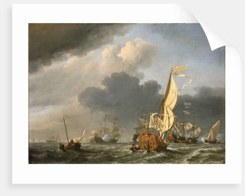 A states yacht in a fresh breeze running towards a group of Dutch ships by Willem Van de Velde the Younger