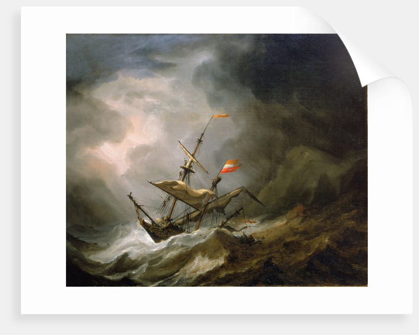 A mediterranean brigantine drifting onto a rocky coast in a storm by Willem Van de Velde the Younger