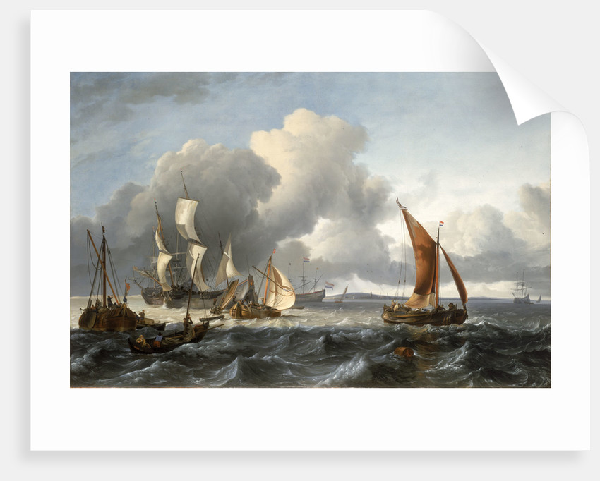 The merchant shipping anchorage in the Texel by Ludolf Bakhuizen