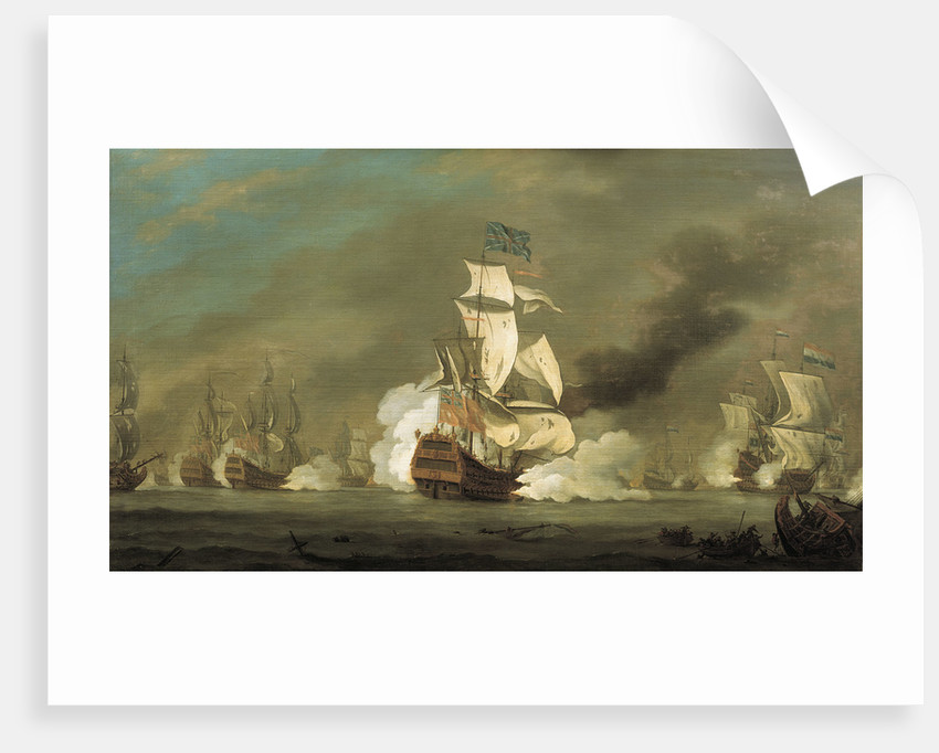 A battle between English and Dutch ships by Robert Woodcock
