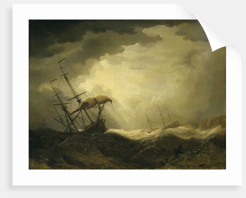 Ships driving onto a rocky shore in a heavy sea by Cornelis van de Velde