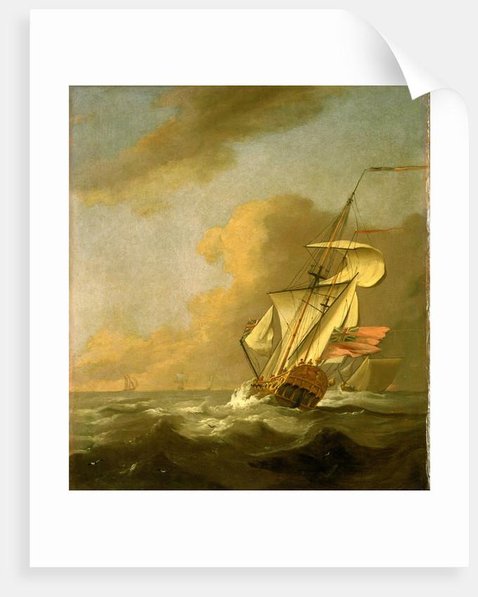 A ketch-rigged royal yacht in a breeze by Johan van der Hagen