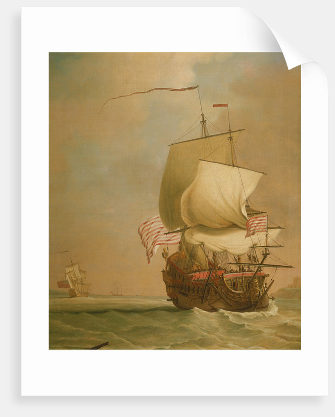 An English East Indiaman, bow view by Peter Monamy