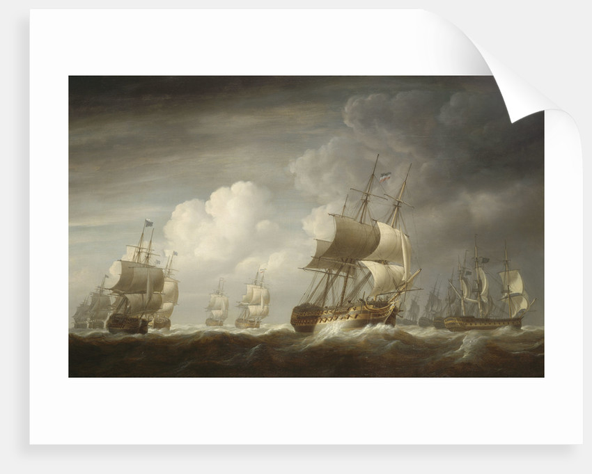 A fleet of East Indiamen at sea by Nicholas Pocock