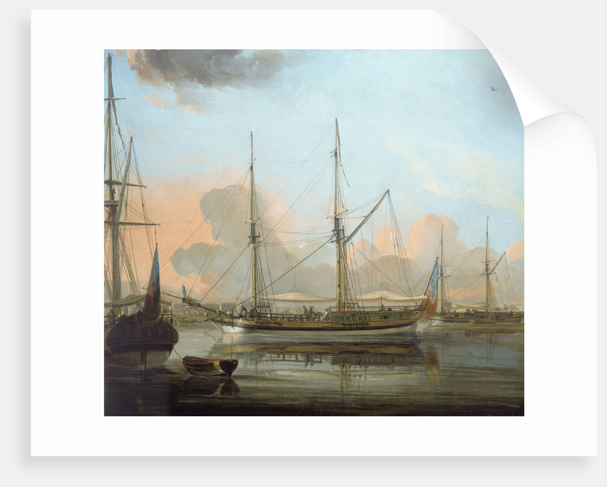 The 'Charlotte' of Chittagong and other vessels at anchor in the river Hoogli by Franz Balthazar Solvyns