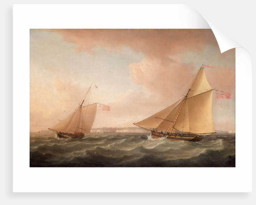 A Trinity House yacht and a revenue cutter off Ramsgate by Thomas Whitcombe