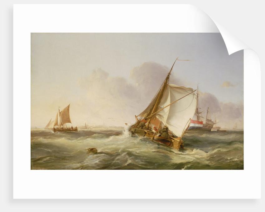 A Dutch boeier in a fresh breeze by George Chambers