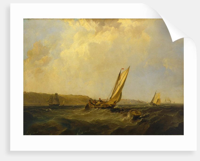A sailing boat in a fresh breeze off Cowes by George Chambers the Elder