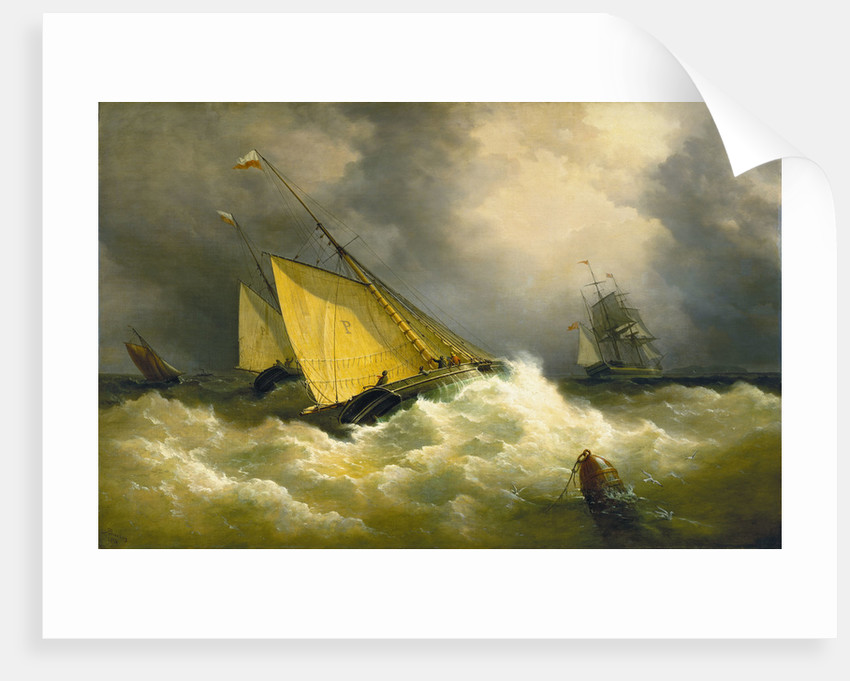 First come, first served. A pilot cutter racing to a ship by Richard Brydges Beechey