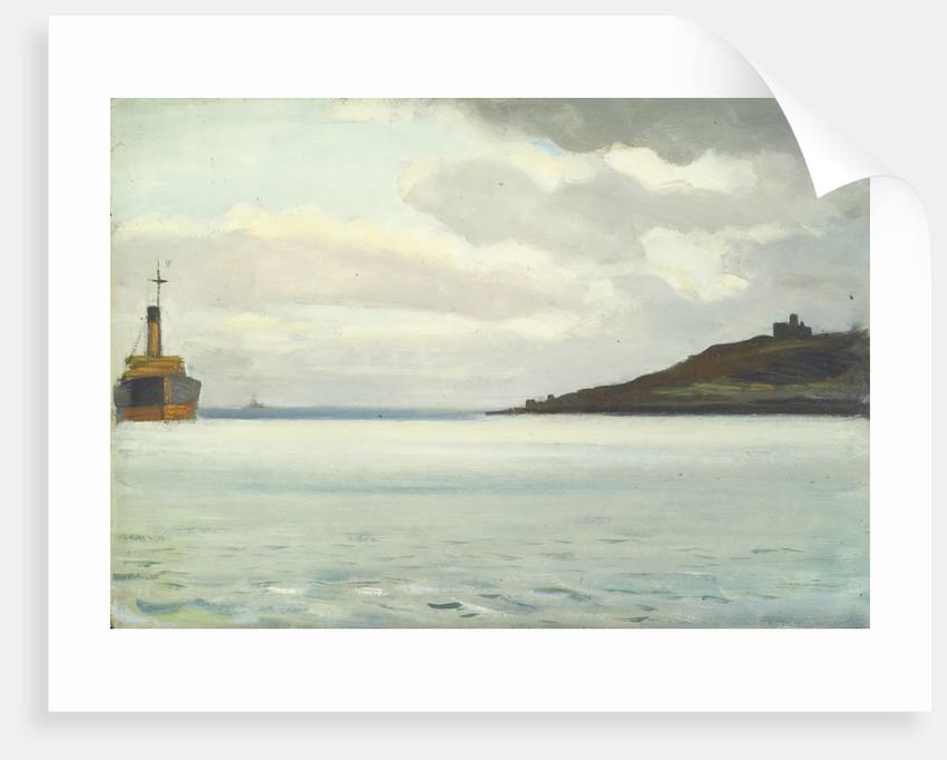 A ship off a headland by Herbert Barnard John Everett