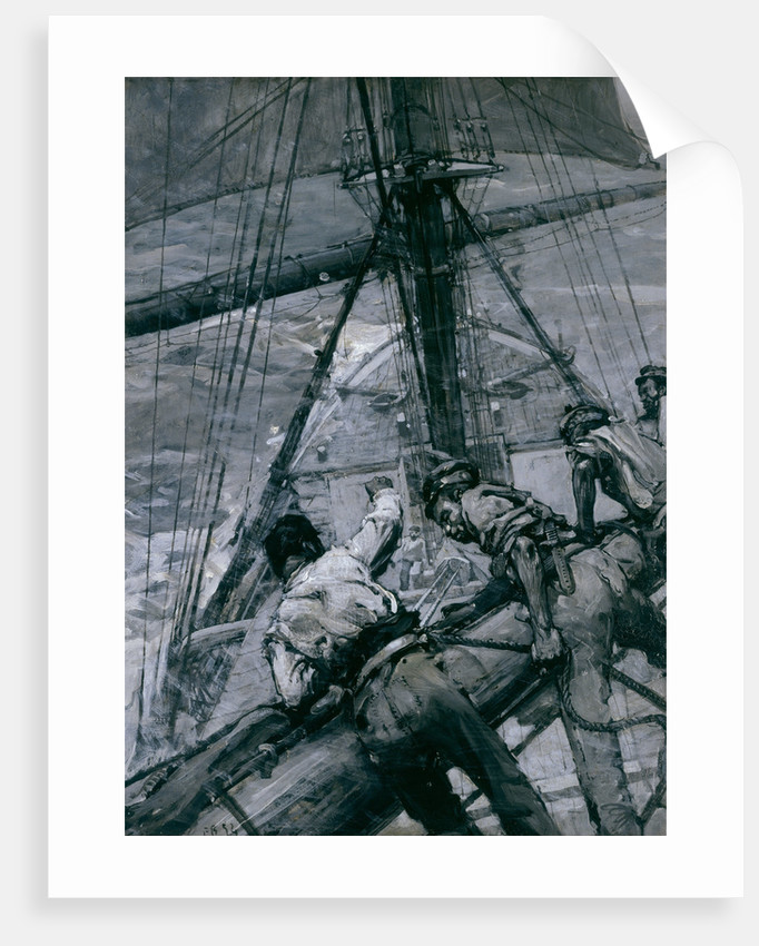 Heavy weather in the Channel: stowing the mainsail by Frank William Brangwyn