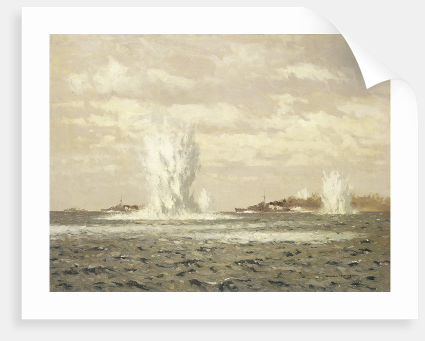 Destroyers dropping depth charges by Norman Wilkinson