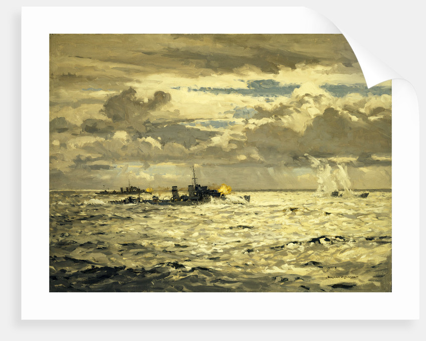 A destroyer sinking a submarine by Norman Wilkinson