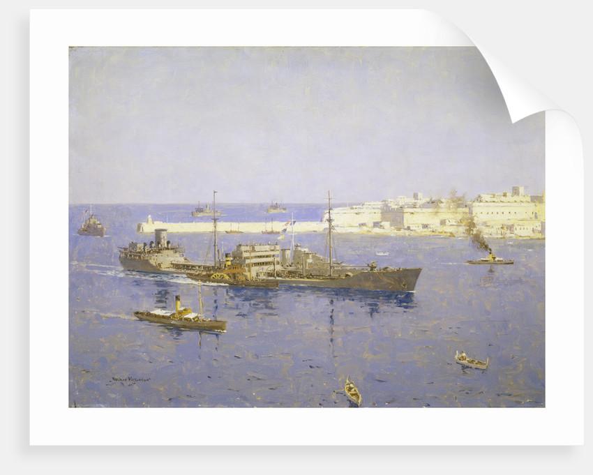 The 'Ohio' entering Malta, 14 August 1942 by Norman Wilkinson