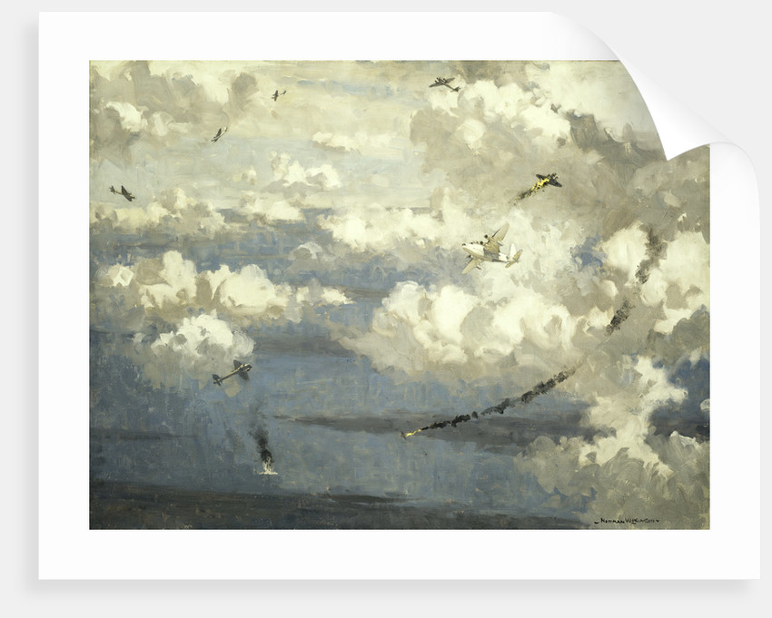 Air battle between a Sunderland flying boat and eight JU 88s by Norman Wilkinson