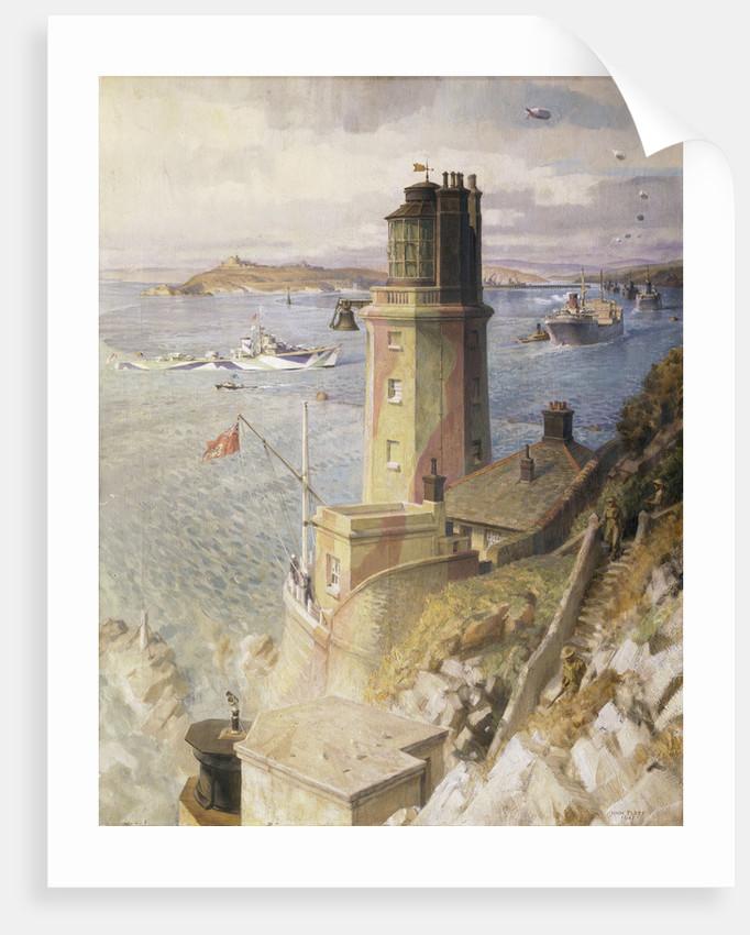 Convoy arriving off St Anthony's lighthouse, Falmouth by John Platt
