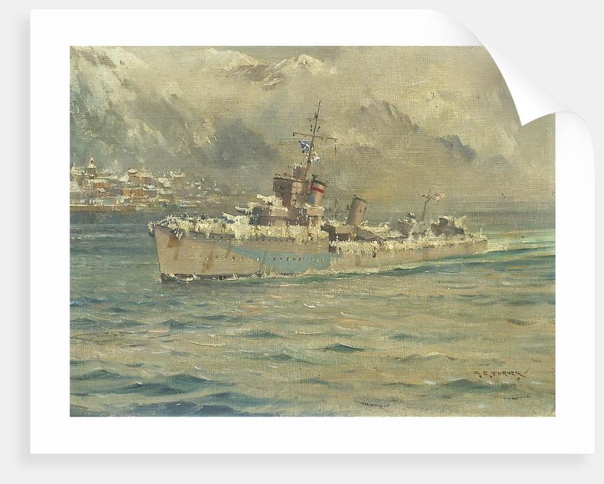HMS 'Montrose' Arriving at Reykjavik, Iceland by Charles E. Turner