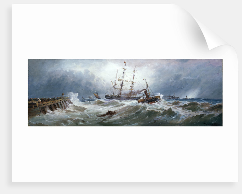 A French paddle tug bringing a barque into Boulogne harbour in heavy weather by Thomas Bush Hardy