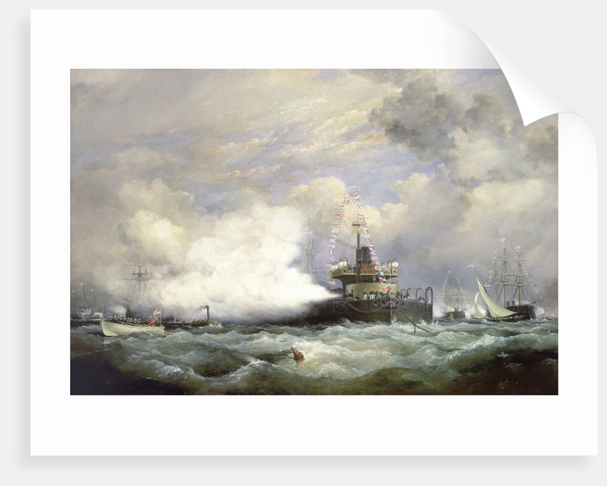 HM Turret Ship 'Devastation' at Spithead on the occasion of the naval review in honour of the Shah of Persia, 23 June 1873 by Edward William Cooke