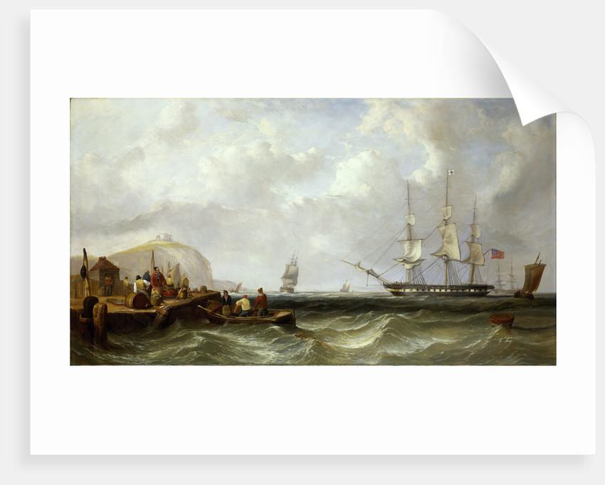 The Blackwall frigate 'Owen Glendower' at anchor off a coastline by G. W. Butland