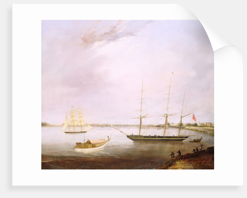 The 'Streatham' and the opium clipper 'Red Rover' by British School