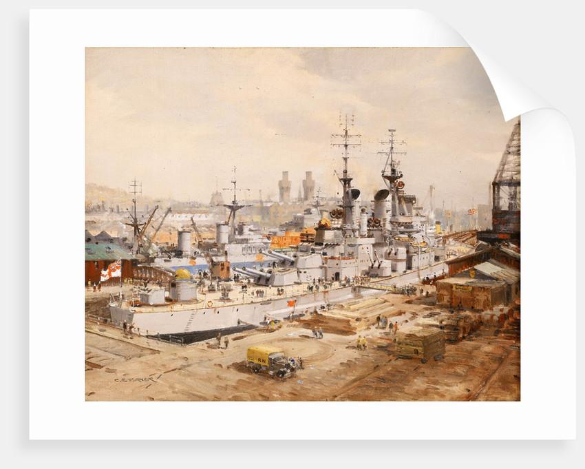 Dockyard Scene: HMS 'Vanguard' in dry-dock by Charles E. Turner