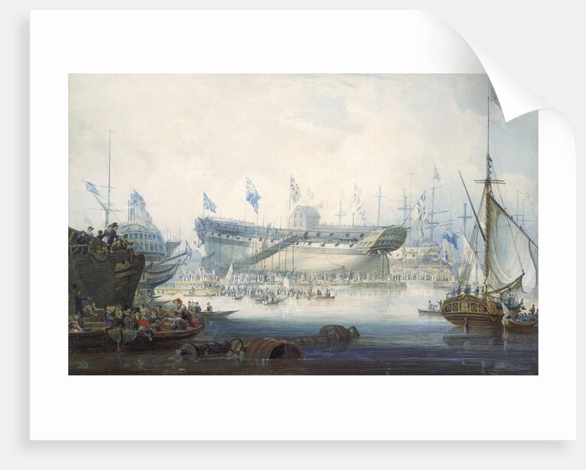 The launch of the East Indiaman 'Edinburgh' by William John Huggins