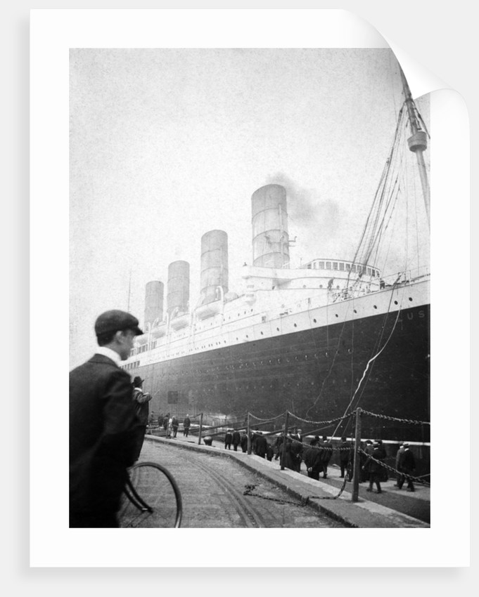 RMS 'Lusitania' along side by unknown