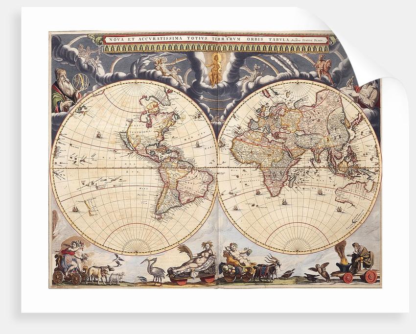 World map from the Blaeu Atlas, 17th century by John Blaeu