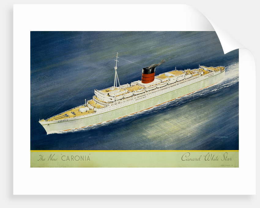 Cunard White Star Line Poster, the New Caronia by C.F. Hopkinson