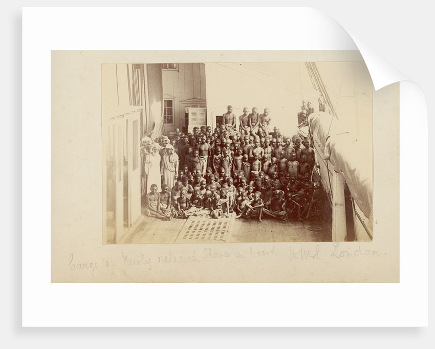 Cargo of newly released slaves on board HMS 'London' by unknown
