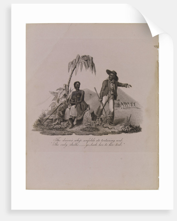 Engraving with the caption: 'The driver's whip unfolds its torturing coil./She only sulks -- go lash her to her toil.' by unknown