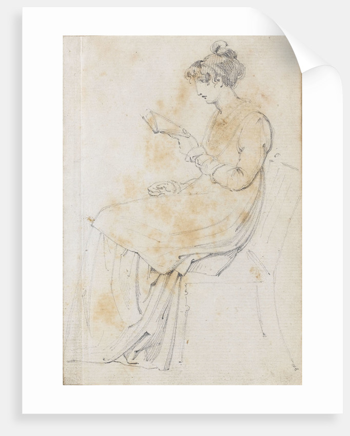 A young woman seated, reading, possibly Charlotte Nelson (recto) by Thomas Baxter
