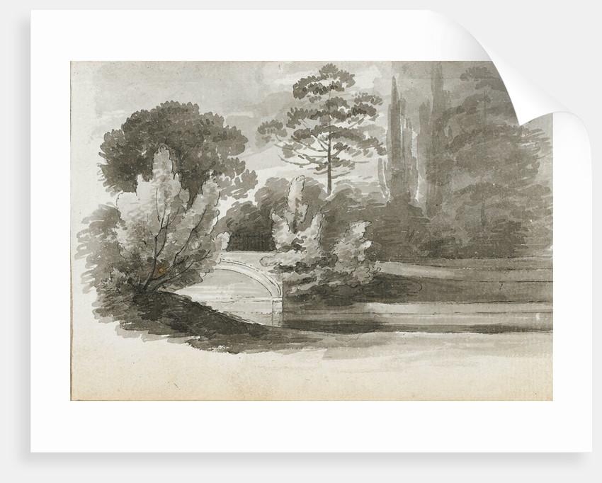 A bridge over the 'Nile' at Merton (recto) by Thomas Baxter