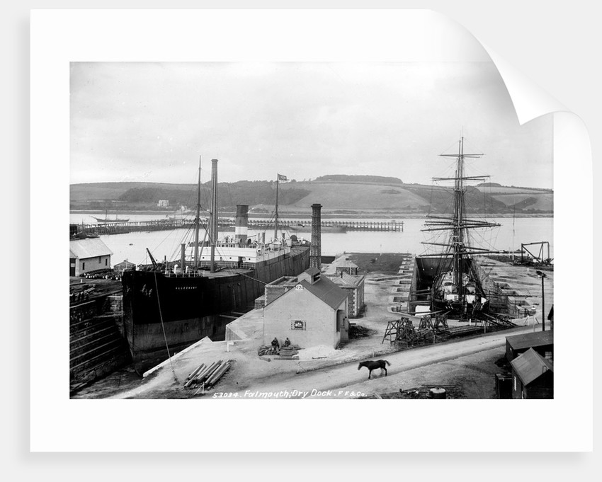 The dry dock at Falmouth with SS 'Alleghany' berthed and a 3-masted barque in the adjacent dry dock by unknown