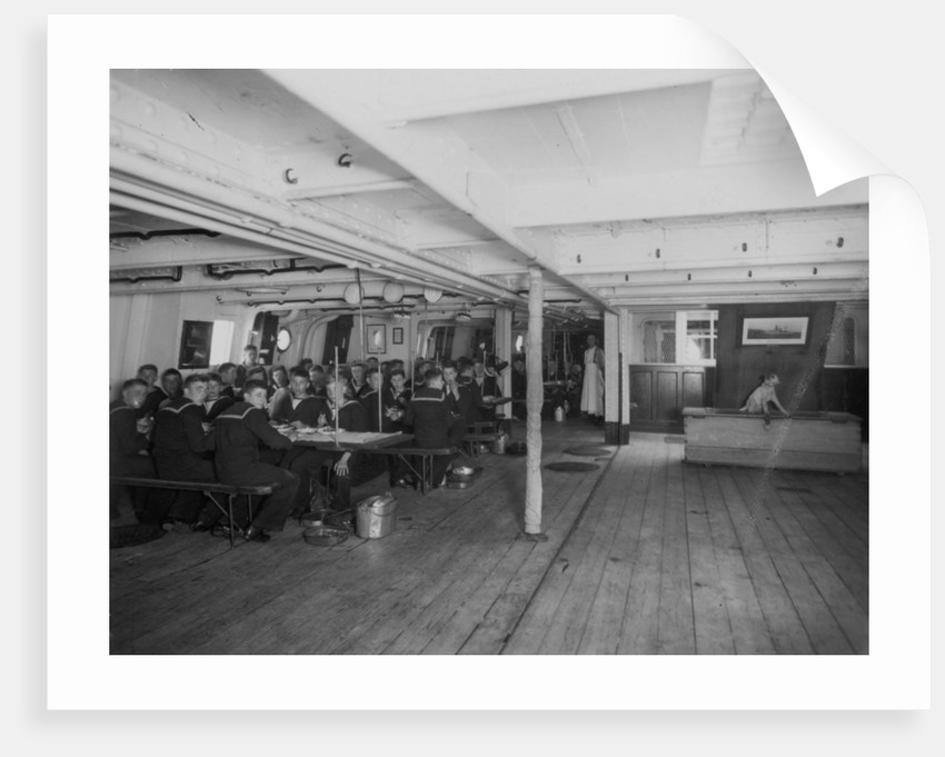HMS 'Warspite' (1893) the boys' messdeck during meal time by unknown