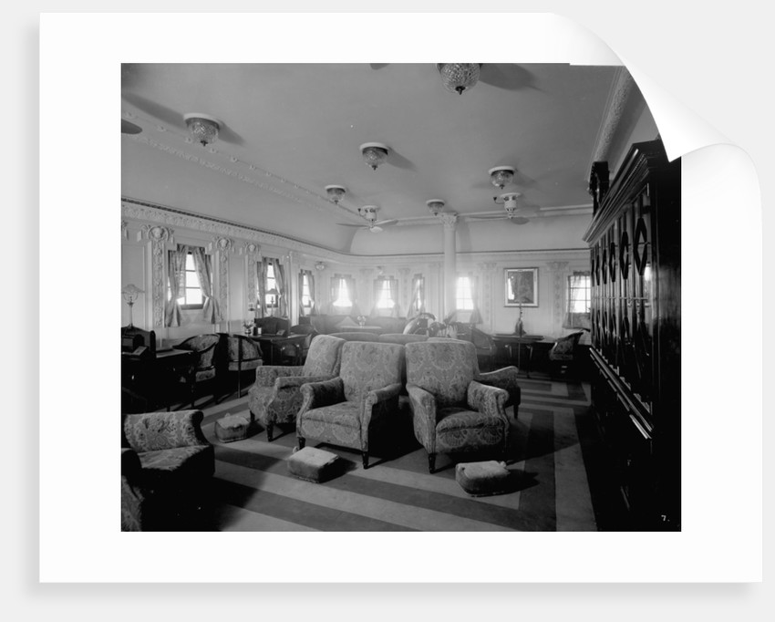 First Class Reading Room on the 'Llandovery Castle' (1914) by Bedford Lemere & Co.