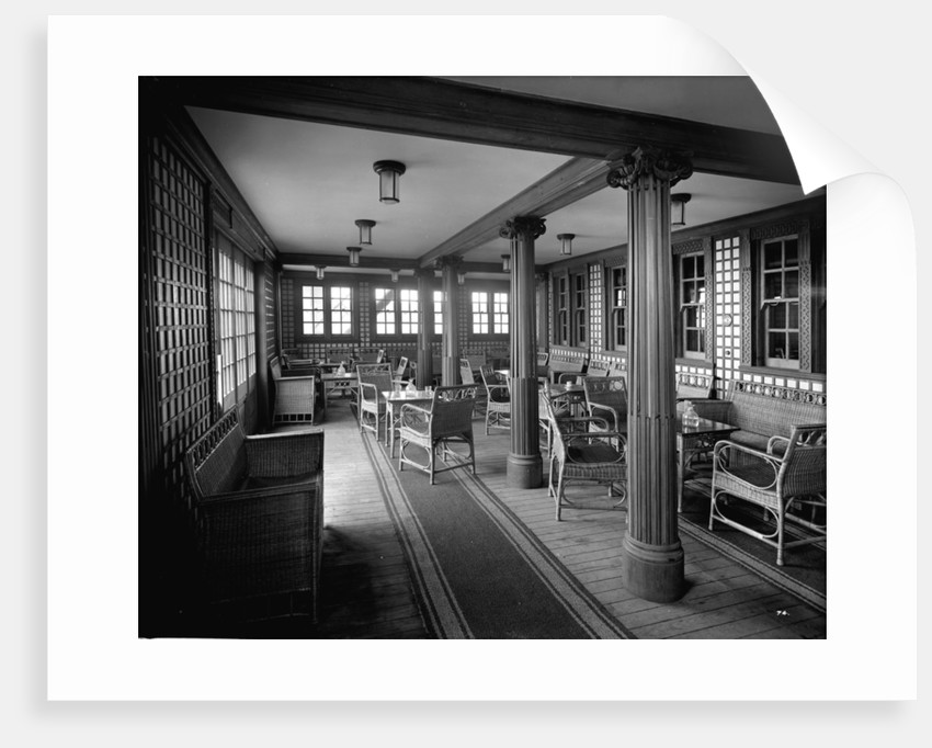 Second Class Verandah Cafe on the 'Aquitania' (1914) by Bedford Lemere & Co.
