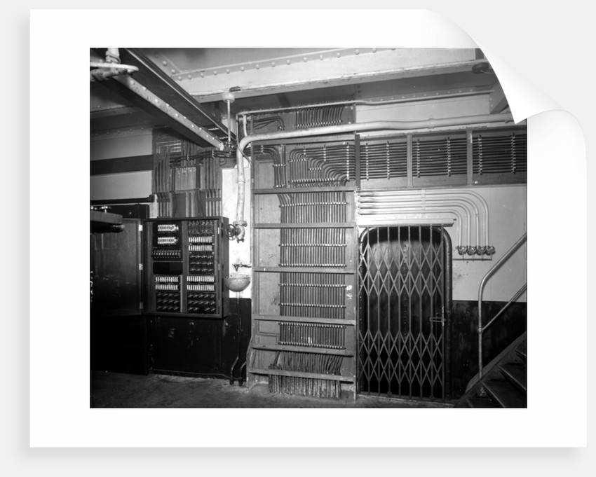 Electrical wiring in the First Class Pantry on the 'Aquitania' (1914) by Bedford Lemere & Co.