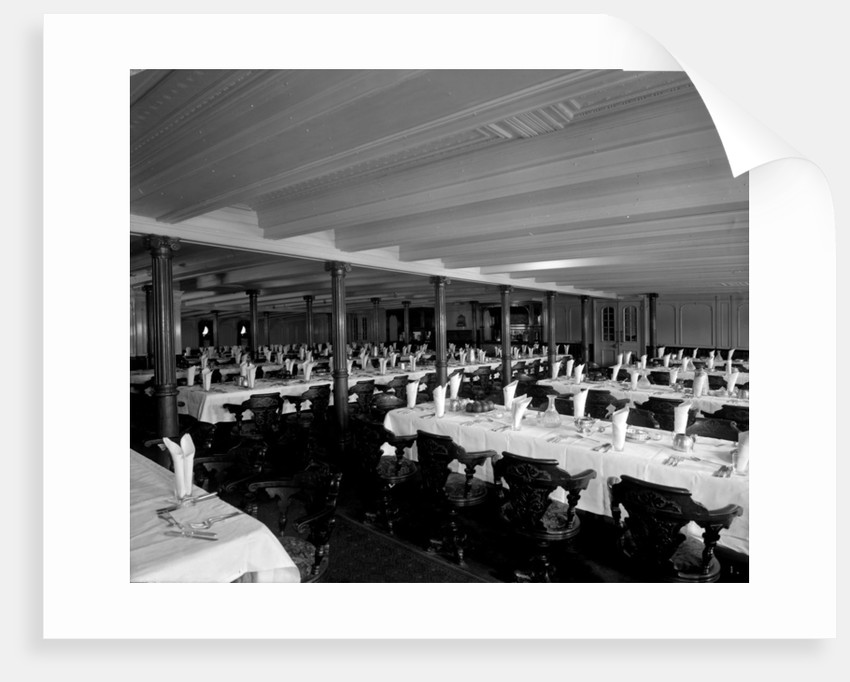 Second Class Dining Saloon on the 'Adriatic' (1906) by Bedford Lemere & Co.