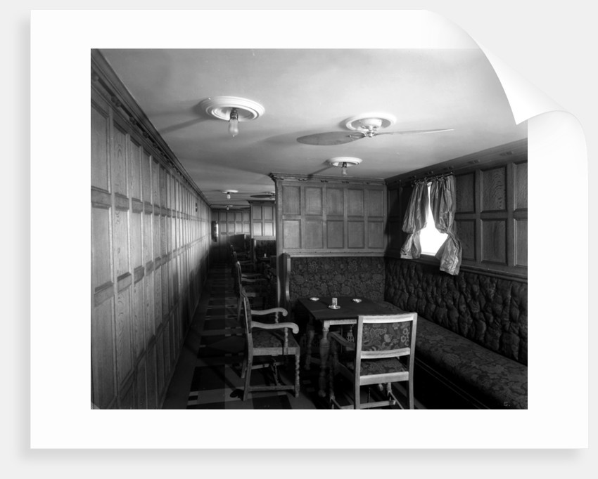 Cabin Class Card Room on the 'Metagama' (1915) by Bedford Lemere & Co.