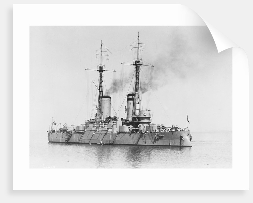 Battleship 'Bandrei Pervoswanni' (Ru, 1906) at anchor, possibly in the Portland area by unknown