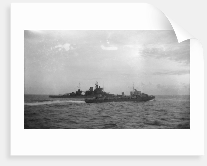 Destroyer HMS 'Hereward' (1936) with HMS 'Valiant' by unknown