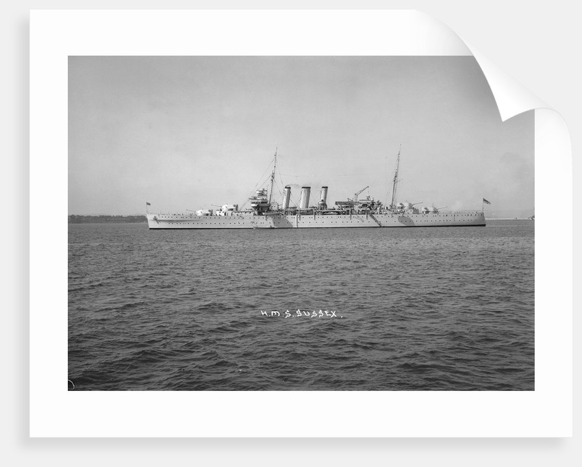 Heavy cruiser HMS 'Sussex' (1928) at anchor by unknown
