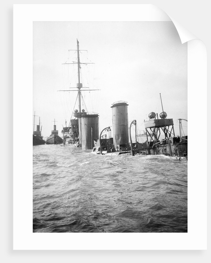 The superstructure and funnels of HMS 'Arethusa' (1913) aground on Cutler Shoal. by Lieutenant Geoffroy William Winsmore Hooper