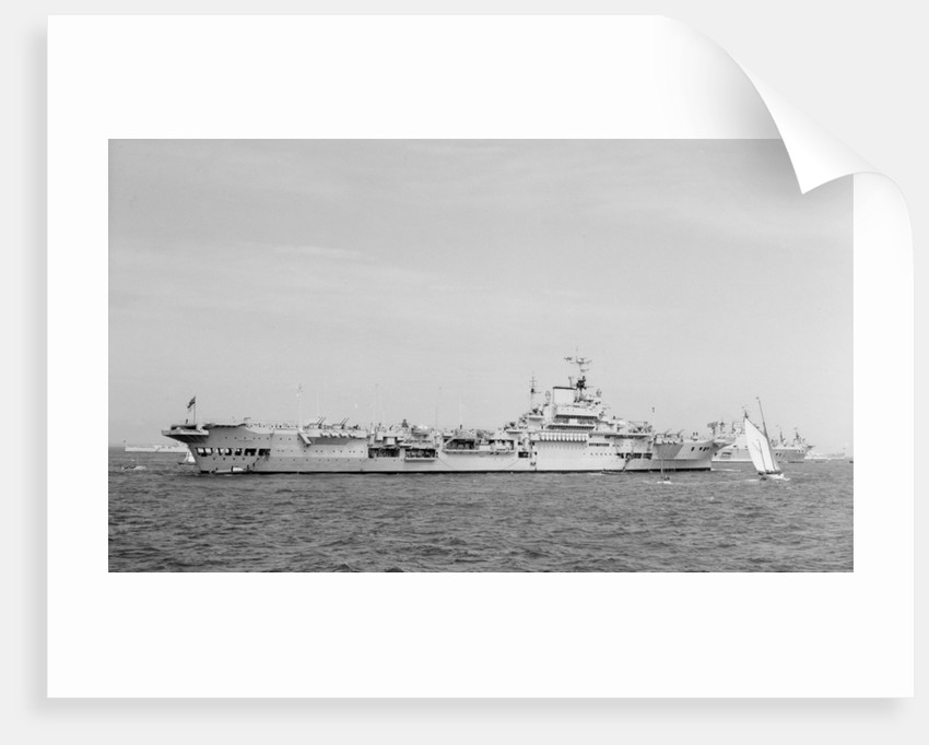 'Indomitable' (Br, 1940) anchored in Line F at Spithead for the Coronation Review by unknown